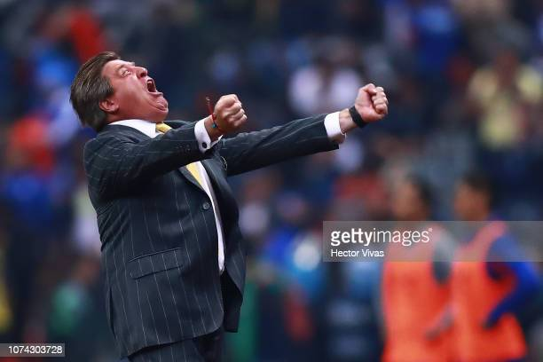 Miguel Herrera coach of America celebrates during the final second leg match between Cruz Azul and America as part of the Torneo Apertura 2018 Liga...