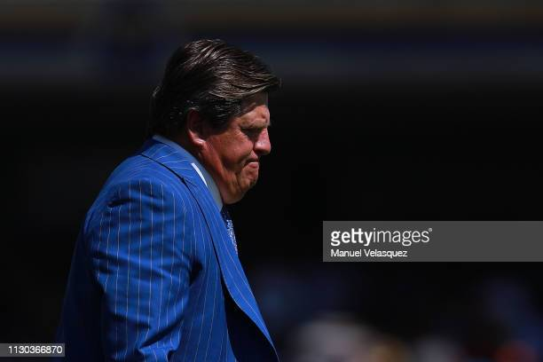 Miguel Herrera coach of America gestures during the seventh round match between Pumas UNAM and America as part of the Torneo Clausura 2019 Liga MX at...