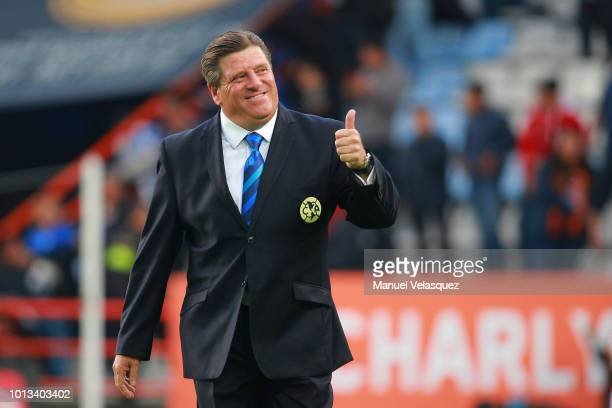 Miguel Herrera coach of America gestures during the third round match between Pachuca and Club America as part of the Torneo Apertura 2018 Liga MX at...