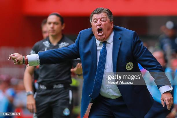 Miguel Herrera coach of America gives instructions during the 4th round match between Toluca and America as part of the Torneo Apertura 2019 Liga MX...