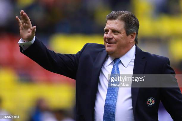 Miguel Herrera coach of America greets the fans during the 7th round match between America and Monarcas as part of the Torneo Clausura 2018 Liga MX...