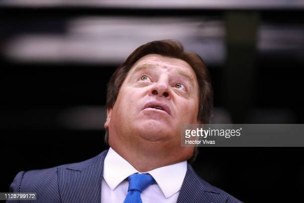 Miguel Herrera coach of America looks on during a first round match between America and Necaxa as part of Torneo Clausura 2019 Liga MX at Azteca...