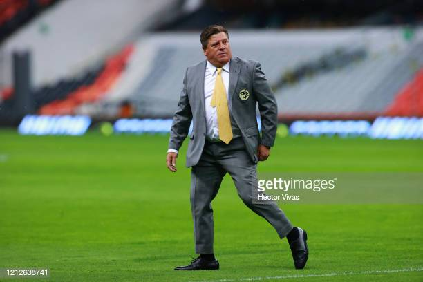 Miguel Herrera coach of America looks on during the 10th round match between America and Cruz Azul as part of the Torneo Clausura 2020 Liga MX at...