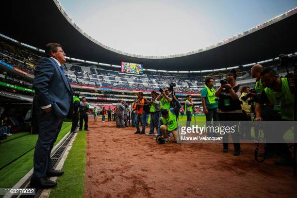 Miguel Herrera coach of America poses prior the 1st round match between America and Monterrey as part of the Torneo Apertura 2019 Liga MX at Azteca...