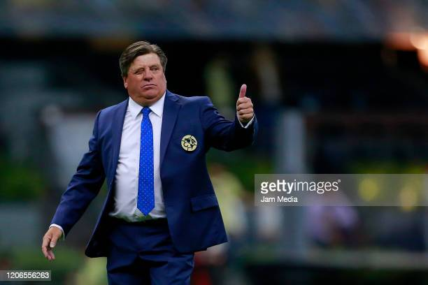 Miguel Herrera coach of America reacts after the 6th round match between America and Atlas as part of the Torneo Clausura 2020 Liga MX at Azteca...