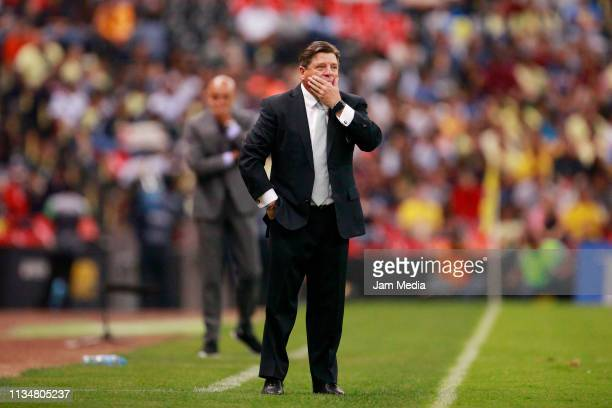 Miguel Herrera Coach of America reacts during a 10th round match between America and Puebla as part of Torneo Clausura 2019 Liga MX at Azteca Stadium...