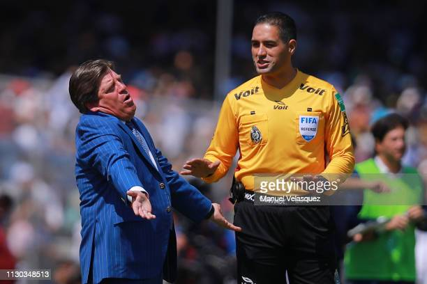 Miguel Herrera coach of America reacts during the seventh round match between Pumas UNAM and America as part of the Torneo Clausura 2019 Liga MX at...