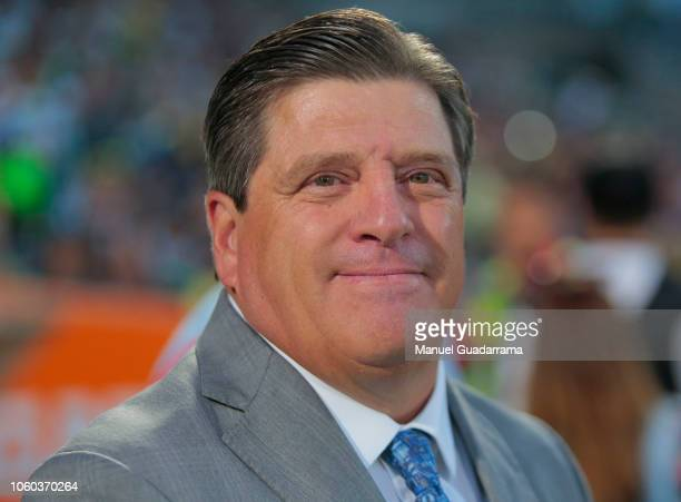 Miguel Herrera head coach of AAmerica looks during a 16th round match between Santos Laguna and America Club as part of Torneo Apertura 2018 Liga MX...