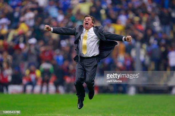 Miguel Herrera Head Coach of America celebrates the championship during the final second leg match between Cruz Azul and America as part of the...