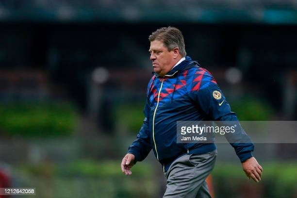 Miguel Herrera head coach of America reacts during the 10th round match between America and Cruz Azul as part of the Torneo Clausura 2020 Liga MX at...