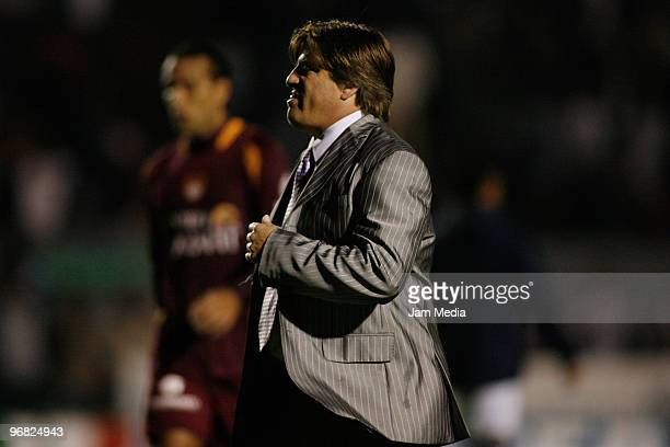 Miguel Herrera head coach of Estudiantes Tecos reacts during the match against Monterrey in the Bicentenario 2010 tournament, the closing stage of...