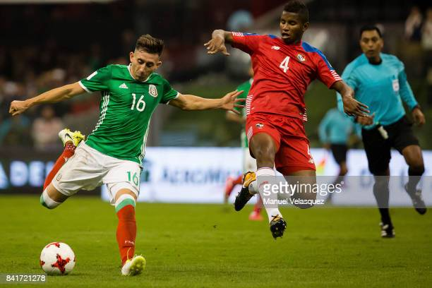 Miguel Herrera of Mexico fights for the ball with Fidel Escobar of Panama during the match between Mexico and Panama as part of the FIFA 2018 World...