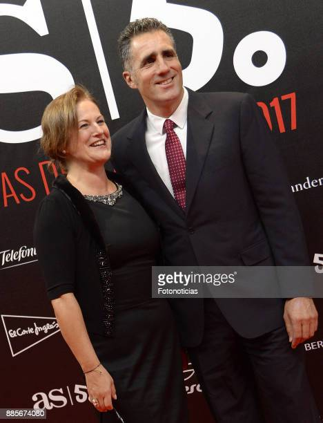 Miguel Indurain and guest attend the 'As del Deporte' and 'As' sports newspaper 50th anniversary dinner at the Palacio de Cibeles on December 4, 2017...