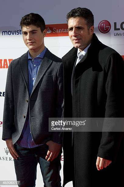 Miguel Indurain and his son attends the 'Marca' award 75th anniversary at the Callao cinema on November 26 2013 in Madrid Spain