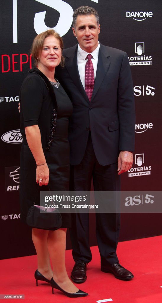 Miguel Indurain and wife Marisa Lopez attend the 'As del Deporte' and 'As' sports newspaper 50th anniversary dinner at the Palacio de Cibeles on December 4, 2017 in Madrid, Spain.