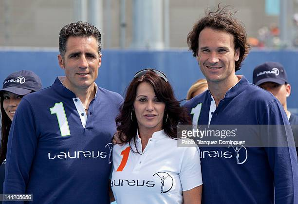 Miguel Indurain, Nadia Comaneci and Carlos Moya attend 'Pasa La Red' project presentation by Laureus Spain Foundation at Caja Magica on May 11, 2012...