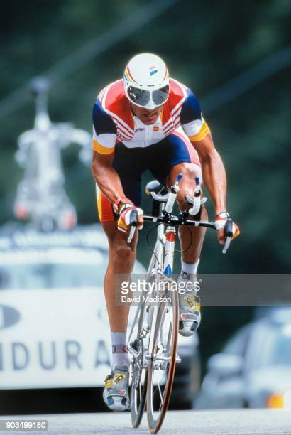 Miguel Indurain of Spain rides to an Olympic gold medal in the Individual Time Trial of the Cycling competition of the 1996 Summer Olympics on August...