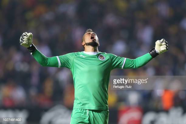 Miguel Jiménez goalkeeper of Chivas celebrates after scoring the first goal of his team during a Group H match between Morelia and Chivas as part of...