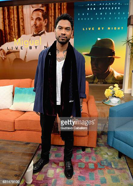 Miguel Jontel Pimentel on the set of Univision's 'Despierta America' to promote the movie LIVE BY NIGHT on January 11 2017 in Miami Florida