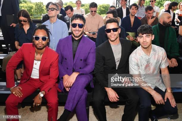 Miguel, Jwan Yosef, Ricky Martin and Joe Jonas attend the Berluti Menswear Spring Summer 2020 show as part of Paris Fashion Week on June 21, 2019 in...