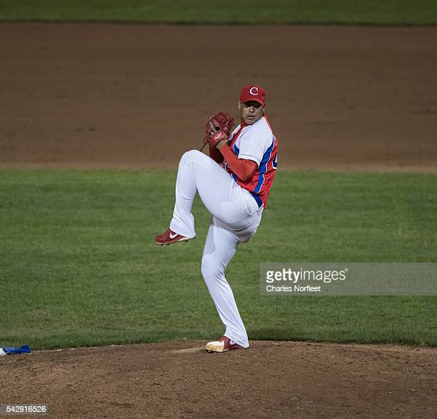 Miguel Lahera of the Cuban National Team delivers a pitch against the Rockland Boulders at Palisades Credit Union Park on June 24, 2016 in Pomona,...