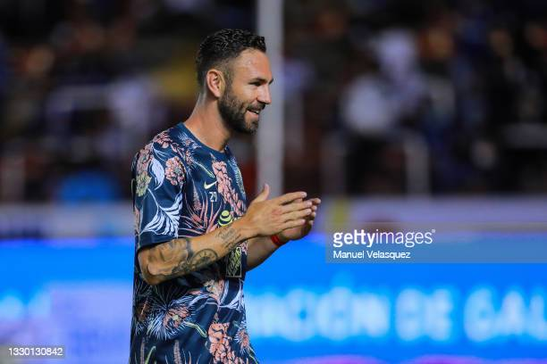 Miguel Layún of America gestures during the warm ups prior the 1st round match between Queretaro and America as part of the Torneo Grita Mexico A21...