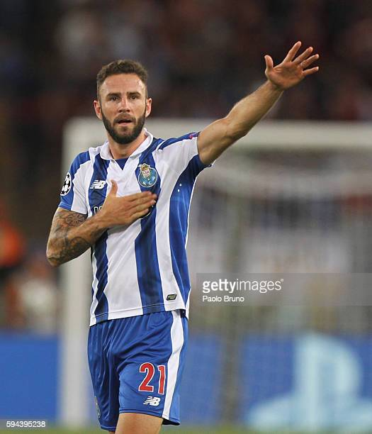 Miguel Layun FC Porto celebrates after scoring the team's second goal during the UEFA Champions League qualifying playoff round second leg match...