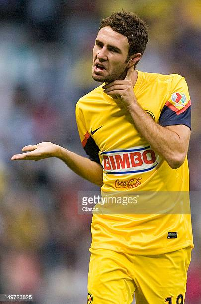 Miguel Layun of America celebrates a goal during the Torneo Copa MX match between America and Veracruz in the Estadio Azteca on august 2 2012 in...