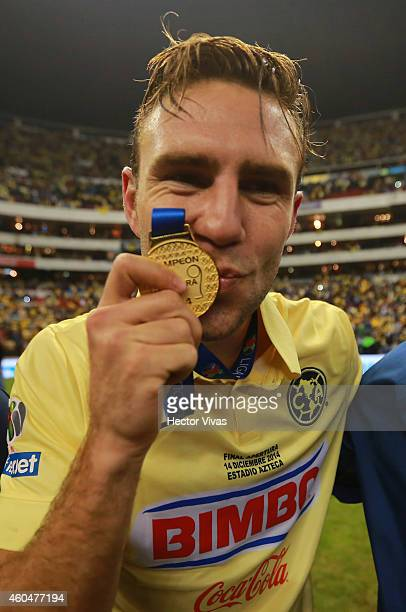 Miguel Layun of America celebrates after a Final second leg match between America and Tigres UANL as part of the Apertura 2014 Liga MX at Azteca...