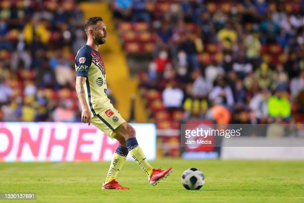Miguel Layun of America controls the ball during the 1st round match between Queretaro and America as part of the Torneo Grita Mexico A21 Liga MX at...