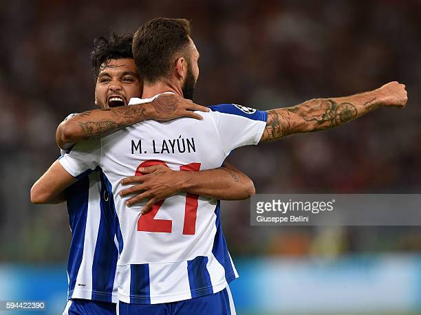 Miguel Layun of FC Porto celebrates after scoring the goal 02 during the UEFA Champions League qualifying playoffs match between FC Porto and AS Roma...