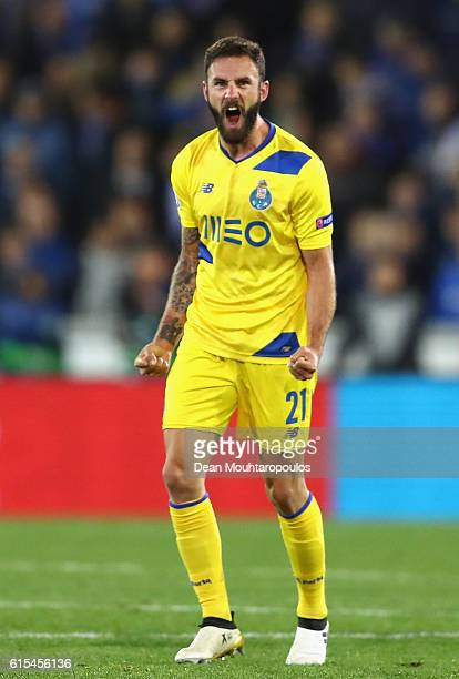 Miguel Layun of FC Porto celebrates scoring his team's first goal during the UEFA Champions League Group G match between Club Brugge KV and FC Porto...