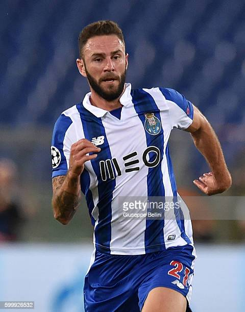 Miguel Layun of FC Porto in action during the UEFA Champions League qualifying playoffs match between FC Porto and AS Roma on August 23 2016 in Rome...