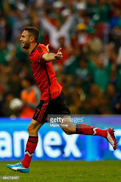 Miguel Layun of Mexico celebrates after scoring the second goal of the game during a FIFA friendly match between Mexico and Israel ahead the...