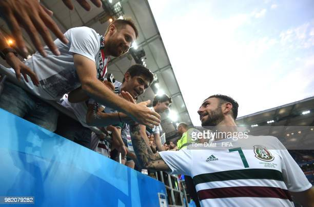 23 Miguel Layun of Mexico celebrates with fans during the 2018 FIFA World Cup Russia group F match between Korea Republic and Mexico at Rostov Arena...