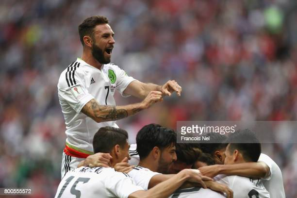 Miguel Layun of Mexico celerbrates his sides first goal during the FIFA Confederations Cup Russia 2017 Group A match between Mexico and Russia at...