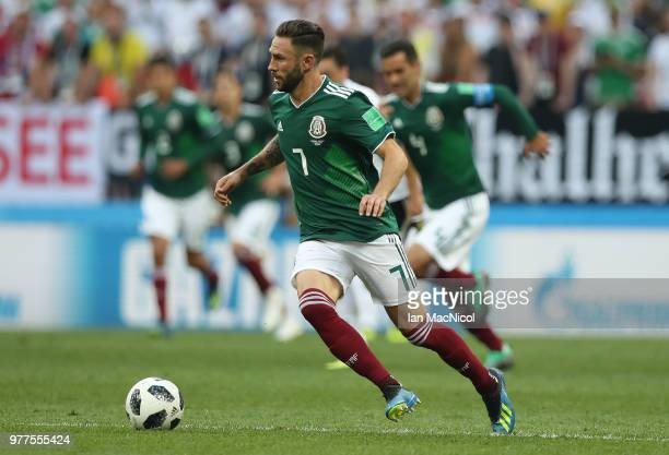 Miguel Layun of Mexico controls the ball during the 2018 FIFA World Cup Russia group F match between Germany and Mexico at Luzhniki Stadium on June...