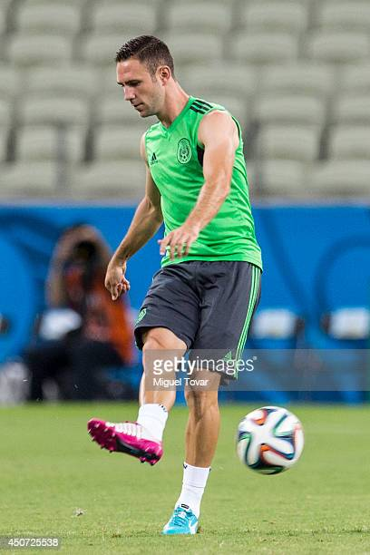 Miguel Layun of Mexico passes the ball during a training session at Castelao Stadium on June 16 2014 in Fortaleza Brazil