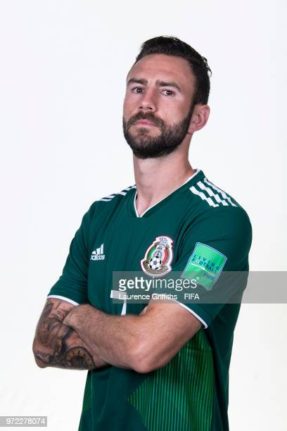 Miguel Layun of Mexico poses for a portrait during the official FIFA World Cup 2018 portrait session at the Team Hotel on June 12 2018 in Moscow...