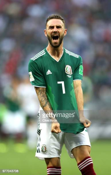 Miguel Layun of Mexico reacts during the 2018 FIFA World Cup Russia group F match between Germany and Mexico at Luzhniki Stadium on June 17 2018 in...