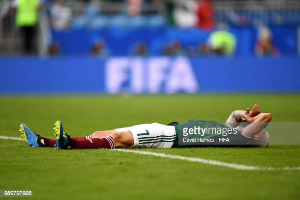 Miguel Layun of Mexico shows his dejection following the 2018 FIFA World Cup Russia Round of 16 match between Brazil and Mexico at Samara Arena on...
