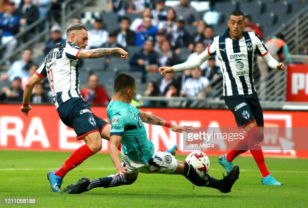 Miguel Layun of Monterrey fights for the ball with Luis Reyes of San Luis during the 9th round match between Monterrey and Atletico San Luis as part...