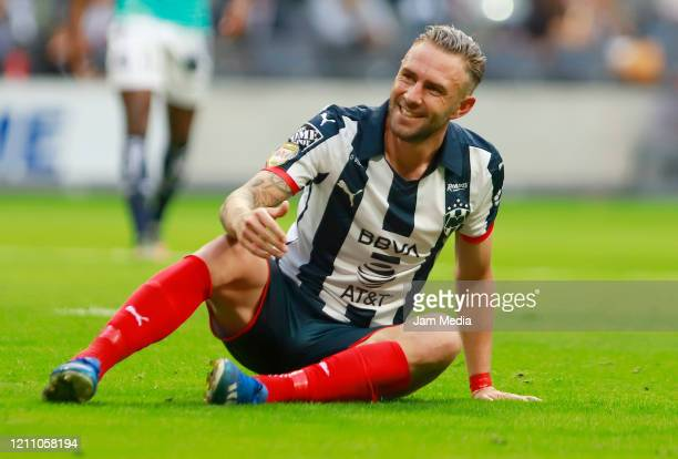 Miguel Layun of Monterrey laments during the 9th round match between Monterrey and Atletico San Luis as part of the Torneo Clausura 2020 Liga MX at...