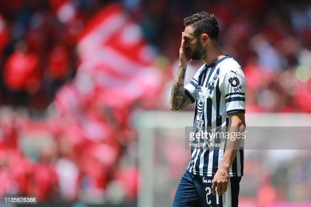 Miguel Layun of Monterrey reacts during the 13th round match between Toluca and Monterrey as part of the Torneo Clausura 2019 Liga MX at Nemesio Diez...