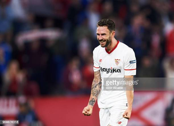 Miguel Layun of Sevilla FC celebrates after scoring his team's second goal during the La Liga match between Sevilla FC and Real Madrid at Ramon...