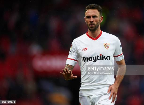 Miguel Layun of Sevilla FC looks on during the La Liga match between Sevilla and Athletic Club at Estadio Ramon Sanchez Pizjuan on March 3 2018 in...