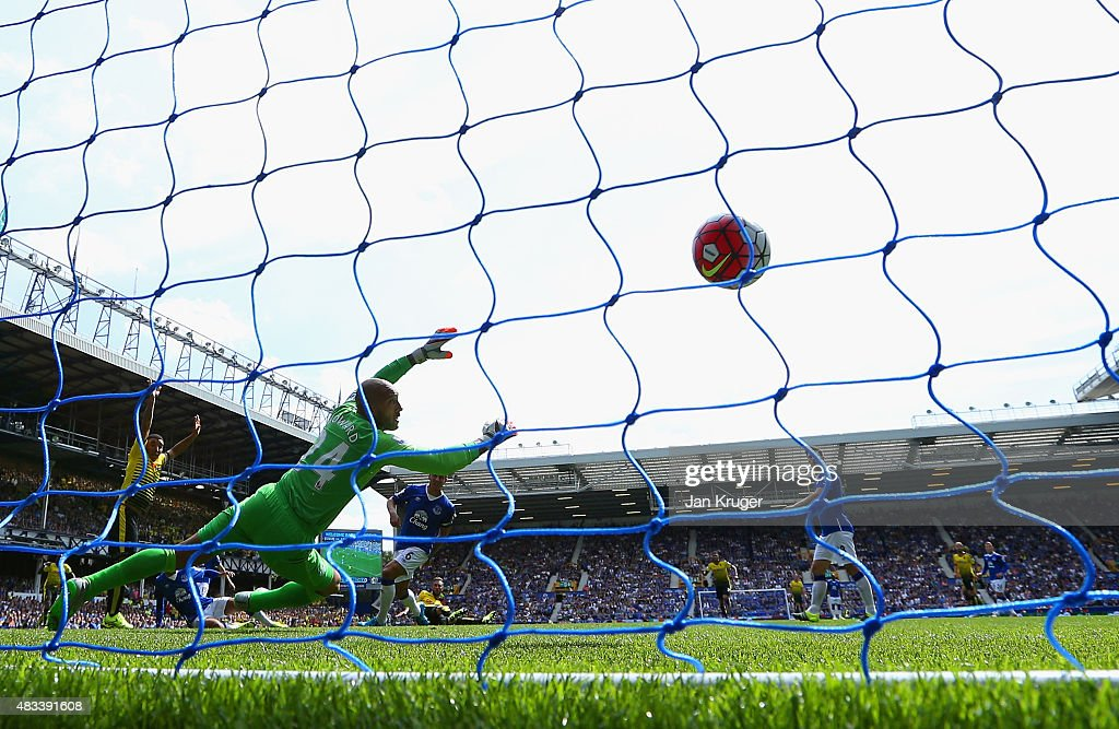 Miguel Layun of Watford (obscured) scores the opening goal past Tim Howard of Everton during the Barclays Premier League match between Everton and Watford at Goodison Park on August 8, 2015 in Liverpool, England.