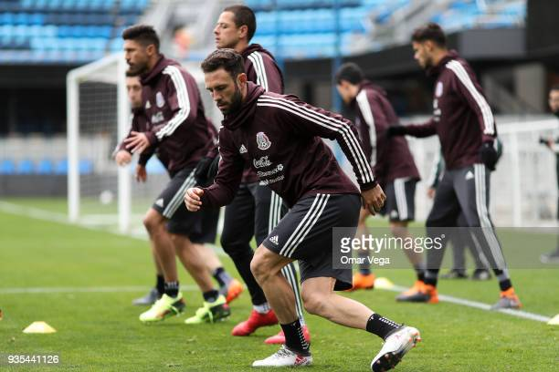 Miguel Layun warms up the Mexico National Team training session at Avaya Stadium on March 20 2018 in San Jose California