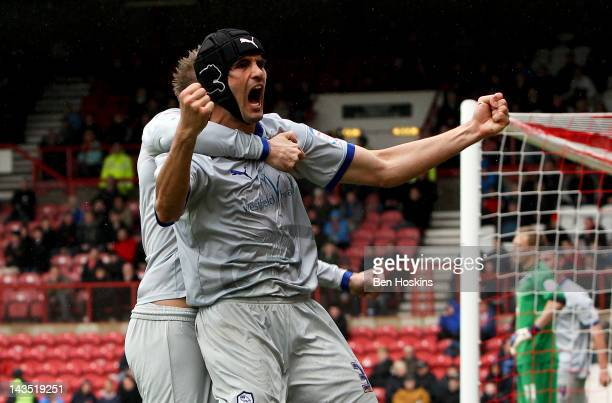 Miguel Llera of Sheffield Wednesday celebrates after scoring the winning goal during the npower League One match between Brentford and Sheffield...