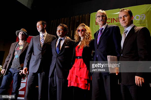 Miguel Marin Gustavo Cantu Enrique Rubio Paulina Rubio Ambassador of Spain in Mexico Carmelo Angulo and Miguel Rivera attend a press conference to...